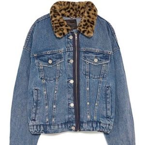 Zara Denim Jacket with Faux Fur Trim